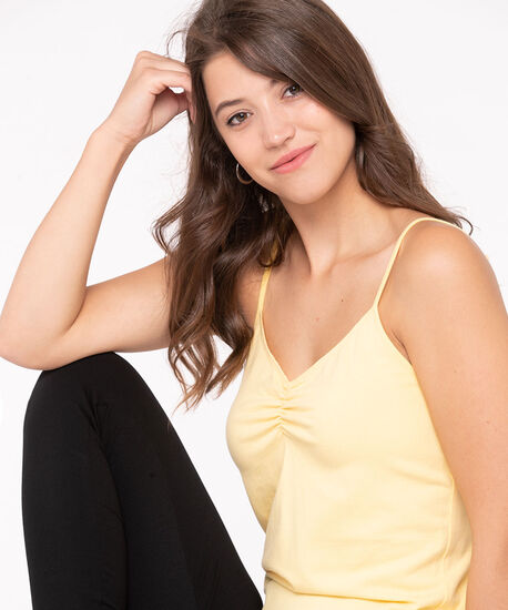 Strappy Ruched Neck Cami, Yellow, hi-res