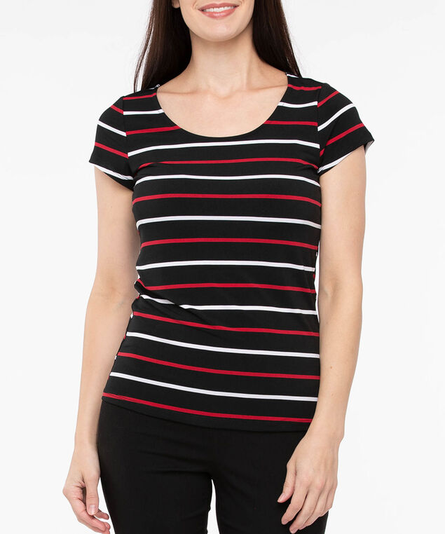 Short Sleeve Scoop Neck Top, Black/Crimson/Pearl, hi-res