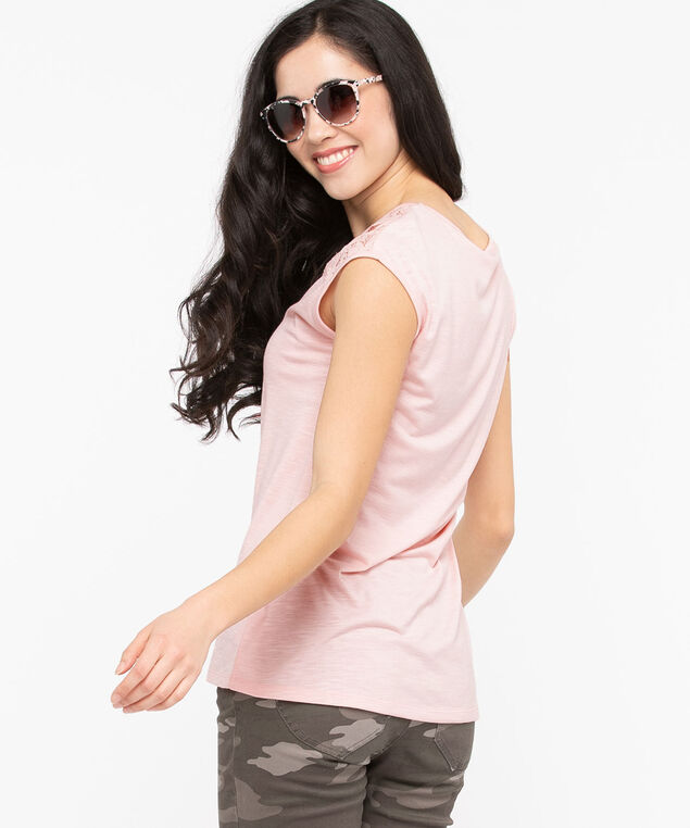 Lace Detail V-Neck Tee, Rose Petal, hi-res