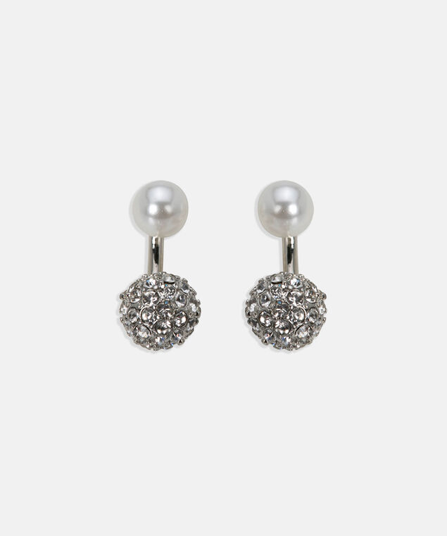 Fireball Front & Back Earring, Pearl/Rhodium, hi-res