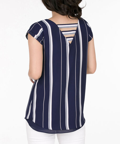 Double-Vee Cutout Back Blouse, Deep Sapphire/Pearl/Pale Pink, hi-res