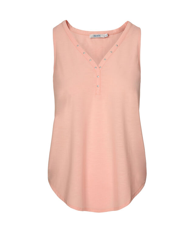 Sleeveless Studded Henley Top, Misty Pink, hi-res