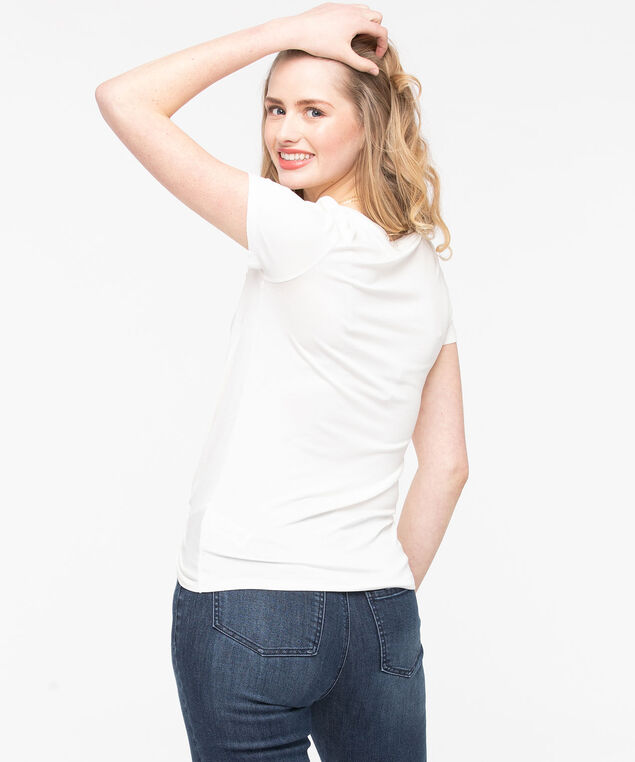 Knot Front Short Sleeve Top, Pearl, hi-res