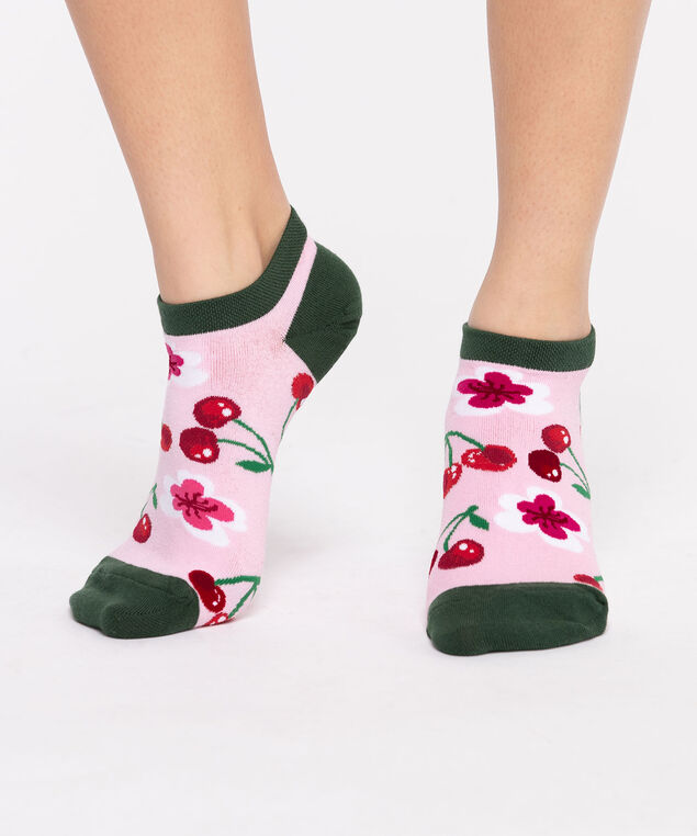 Cherry Ankle Socks, Rouge Red/Green