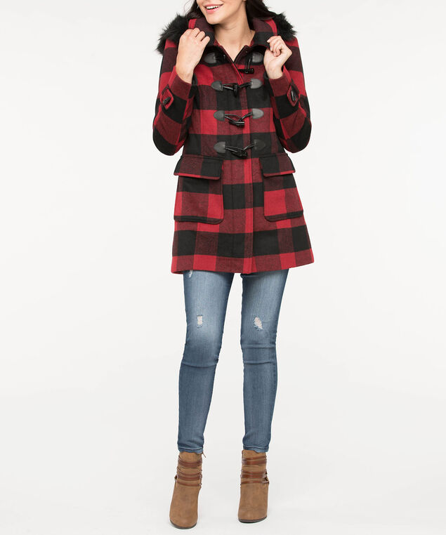 Buffalo Check Duffle Coat, Crimson/Black, hi-res