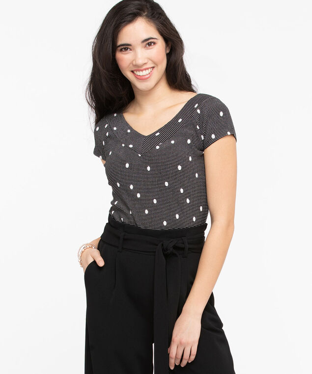 Short Sleeve Double-V Top, Black/Pearl, hi-res