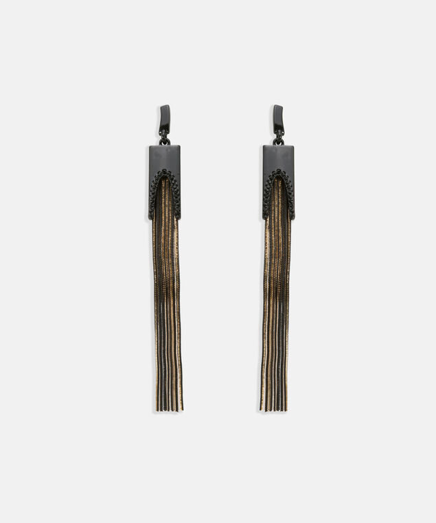 Tassel & Crystal Earring, Black/Gold, hi-res
