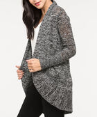 Cocoon Pointelle Open Front Cardigan, Black Mix, hi-res