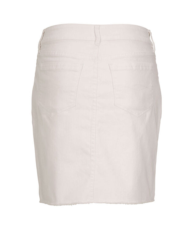 White Denim Raw Hem Skirt, True White, hi-res