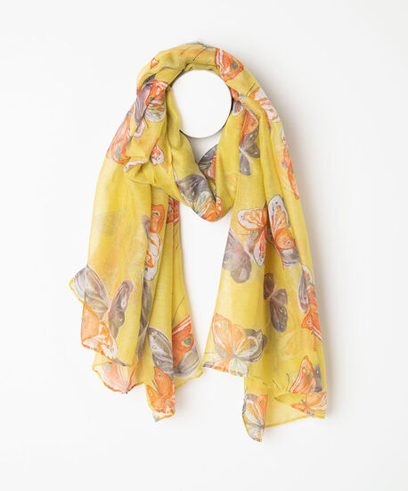 Butterfly Print Oblong Scarf, Orange/Gold/Grey, hi-res