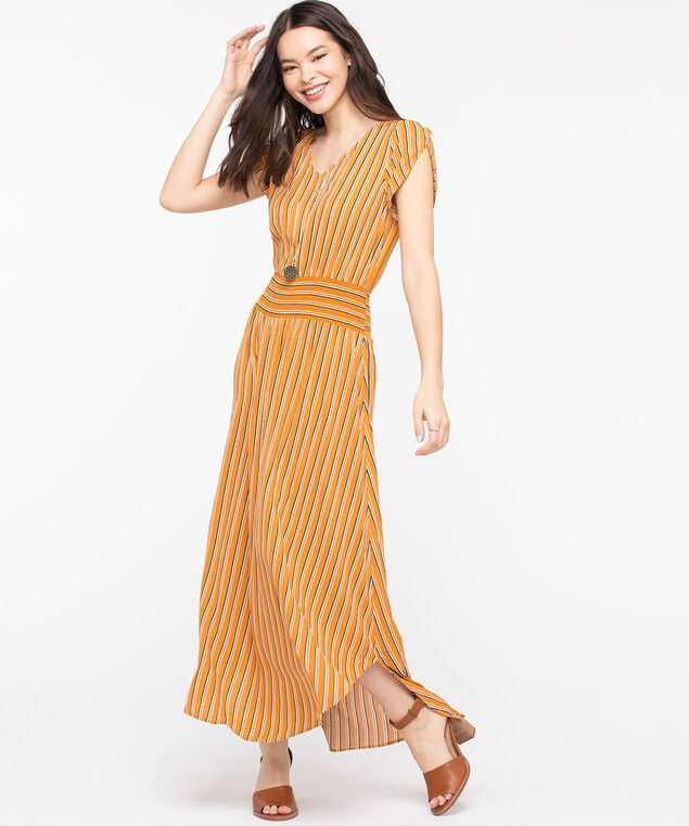 Striped Tulip Sleeve Maxi Dress, Gold/Black/Pearl
