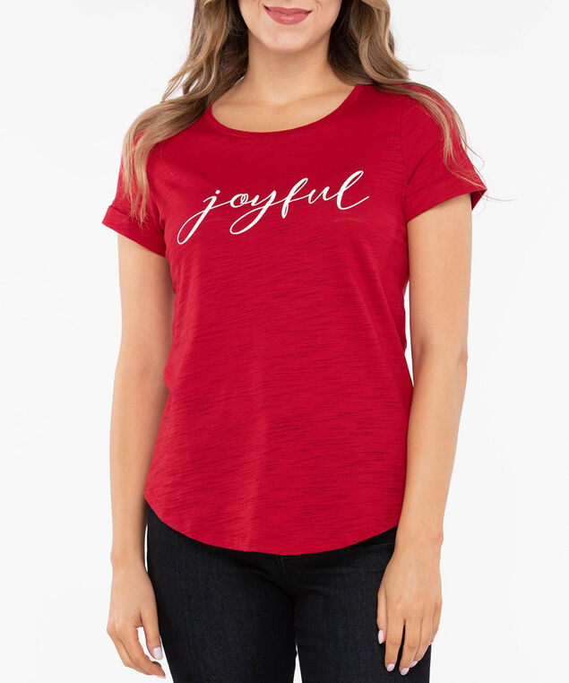 Festive Roll Cuff Graphic Tee, Crimson/Pearl, hi-res