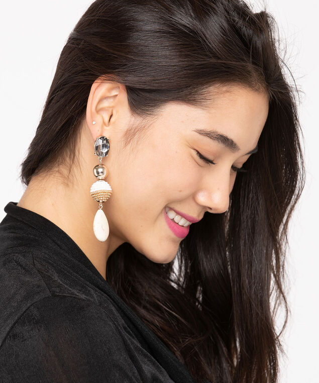 Crystal & Stone Drop Earring, Ivory/White/Gold/Smoke, hi-res