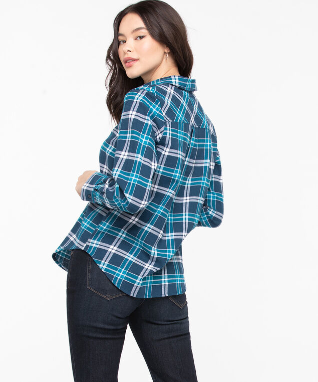 Plaid Cotton Flannel Blouse, Bijou Blue/Reef Waters