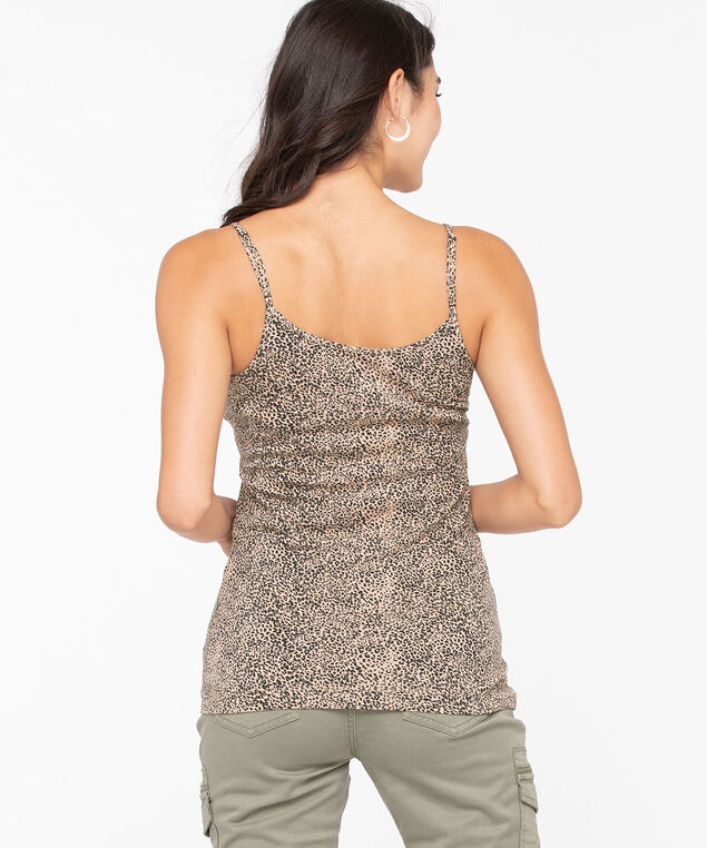 Strappy Scoop Neck Cami, Black/Camel