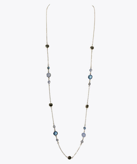 Stationed Stone & Bead Long Necklace, Blue/Rhodium, hi-res