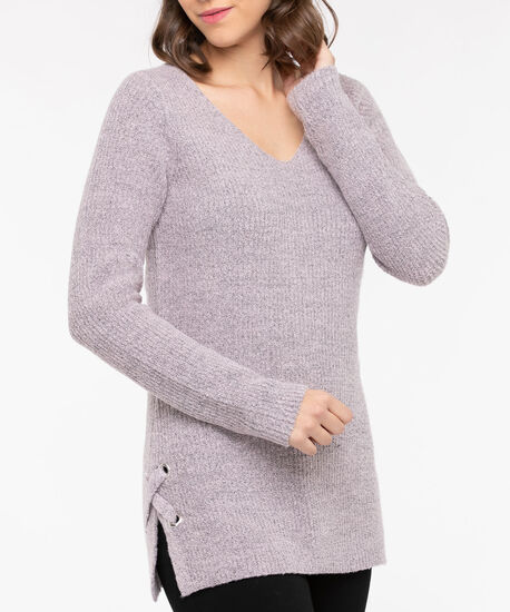 Lace Up Detail V-Neck Sweater, Dusty Blush, hi-res