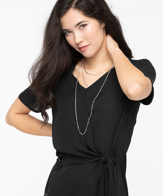 Wrap Front Side Tie Blouse, Black, hi-res