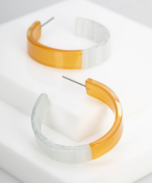 Colourblock Resin Hoop Earring, Pearl/Gold/Rhodium, hi-res
