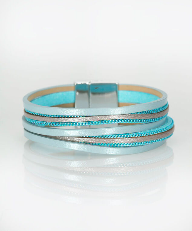 Faux Leather Wrap Bracelet, Tropical Teal/Grey, hi-res
