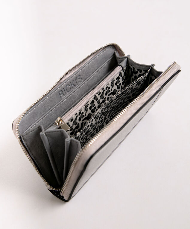 Colourblock Zipper Wallet, Grey/Black, hi-res