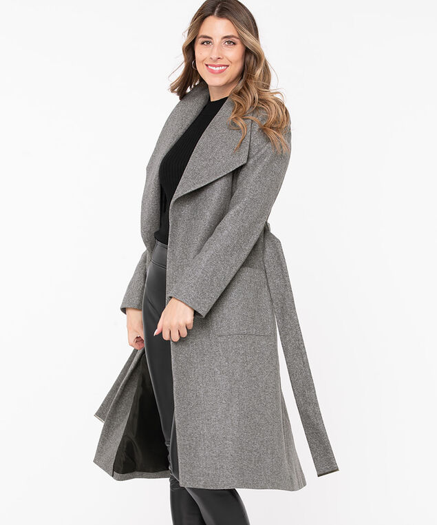 Wide Lapel Belted Wrap Coat, Mid Heather Grey, hi-res