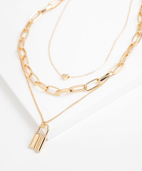 Chain Link Layered Necklace, Gold, hi-res