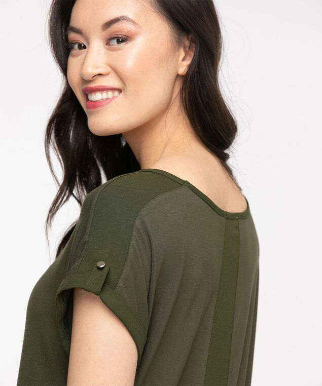 Extended Sleeve Woven Top, Capulet Olive