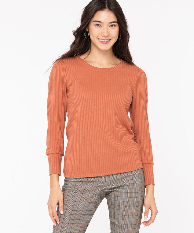 Balloon Sleeve Lightweight Knit Top, Terra Cotta, hi-res