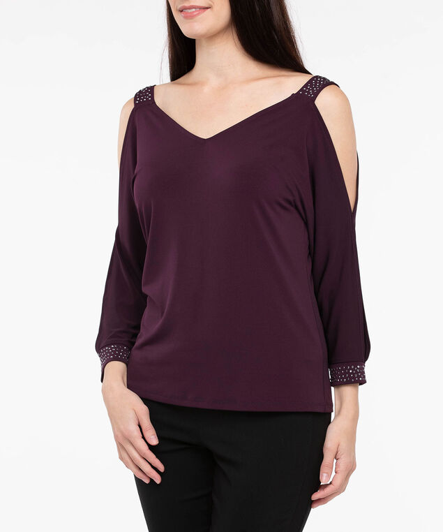 Rhinestone Detail Cold Shoulder Top, Deep Purple, hi-res