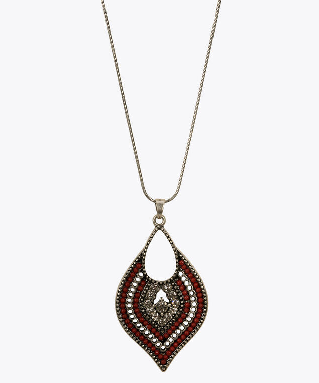 Beaded Teardrop Pendant Necklace, Rhodium/Red/Clear, hi-res