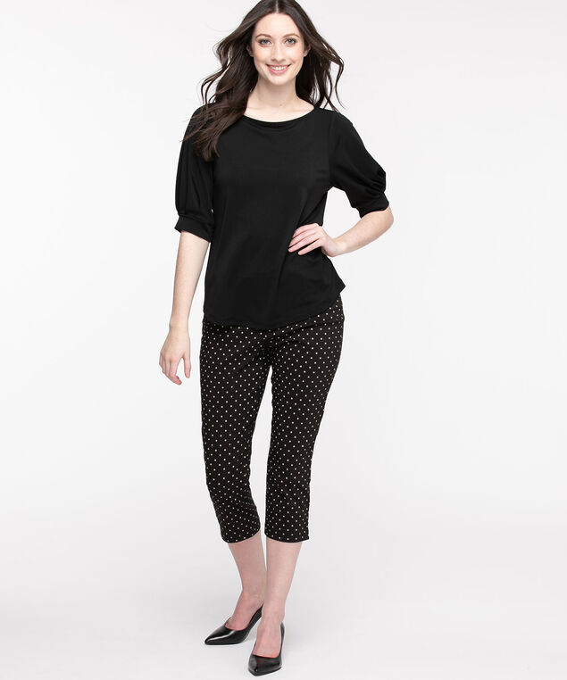 Microtwill Pull-On Crop Pant, Black/White Dot
