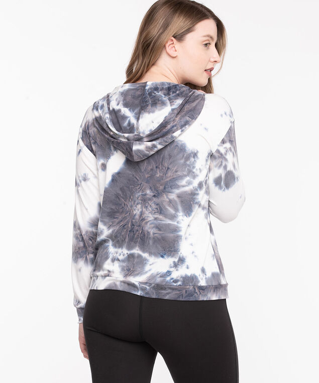 Hooded Tie Dye Jersey Pullover, Grey/Whisper White