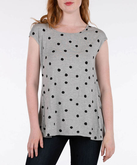 Flyaway Back Extended Sleeve Top, Grey/Black, hi-res
