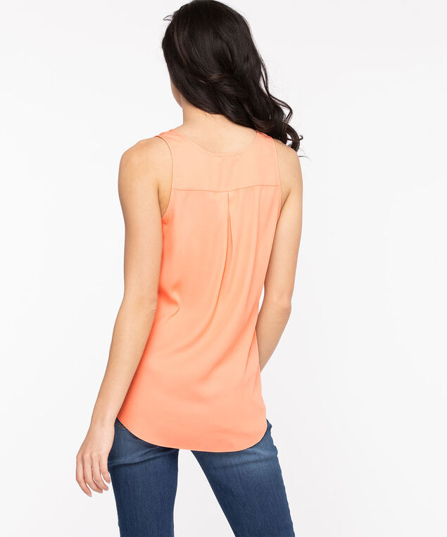 Pleat Back Sleeveless Blouse, Coral Reef