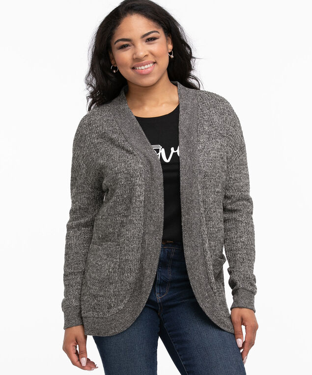 Brushed Waffle Knit Cocoon Cardigan, Charcoal