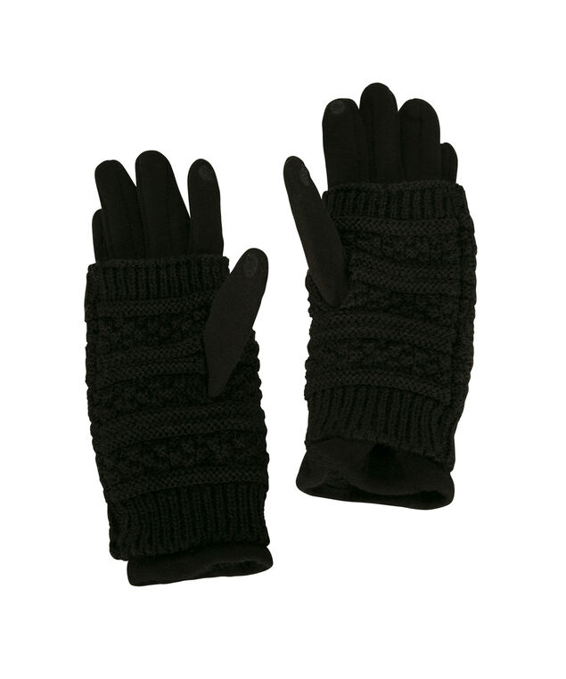 Knit Handwarmer Texting Glove, Black, hi-res