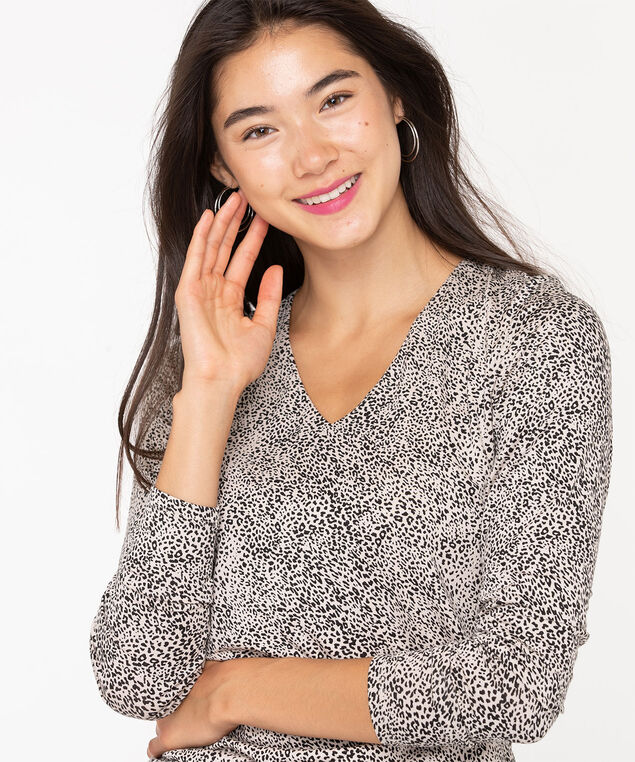 V-Neck Layering Essential Top, Black/Oatmeal