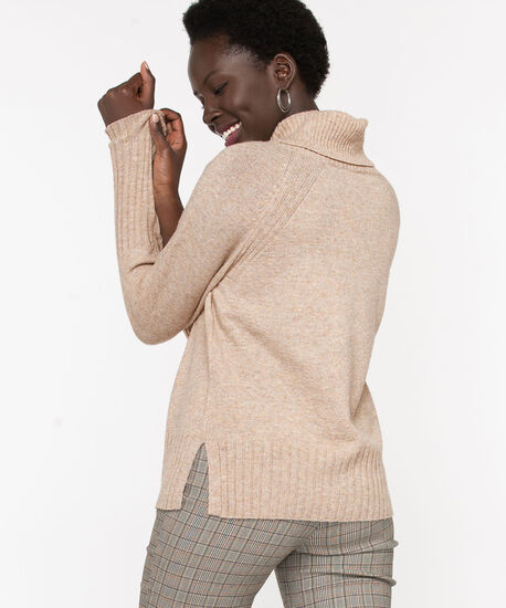 Ribbed Cowl Neck Pullover, Almond, hi-res