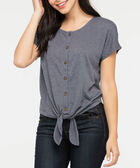 Extended Sleeve Tie Front Top, Steel Blue, hi-res