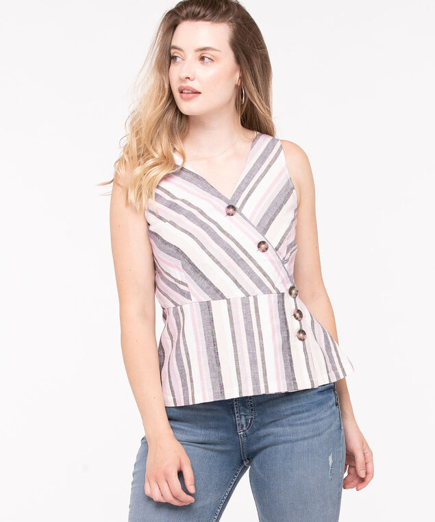 Striped Crossover Buttoned Peplum Top, Linen/Blush/Basil, hi-res