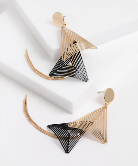 Tiered Triangle Drop Earrings, Gold/Black, hi-res