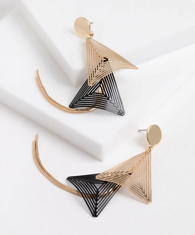 Tiered Triangle Drop Earrings, Gold/Black
