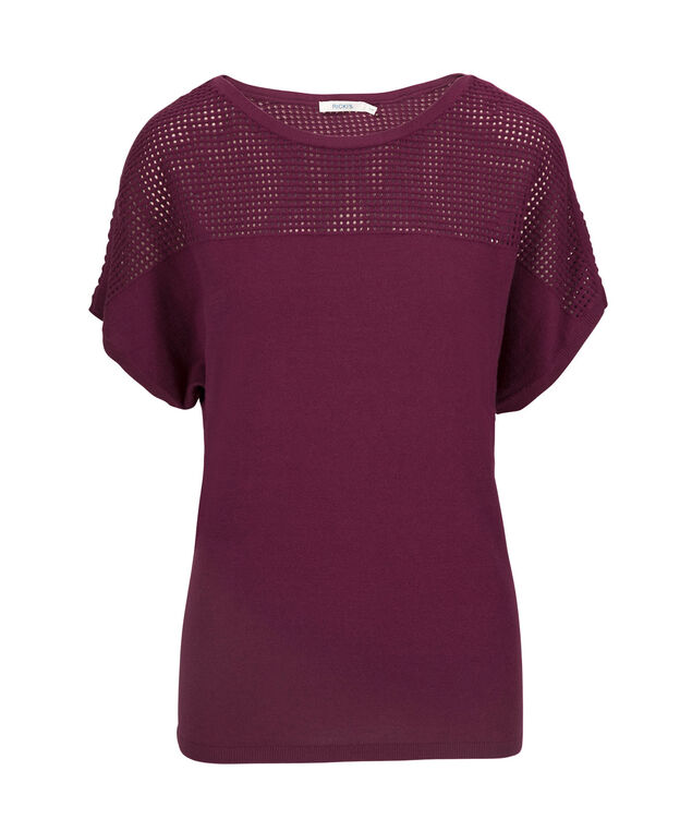 Pointelle Extended Sleeve Pullover, Black Cherry, hi-res