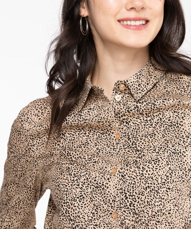 Classic Collared Button-Up Shirt, Nomad/Black Animal Print