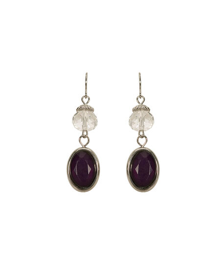 Faceted Stone Crystal Bead Earring, Deep Purple/Rhodium, hi-res