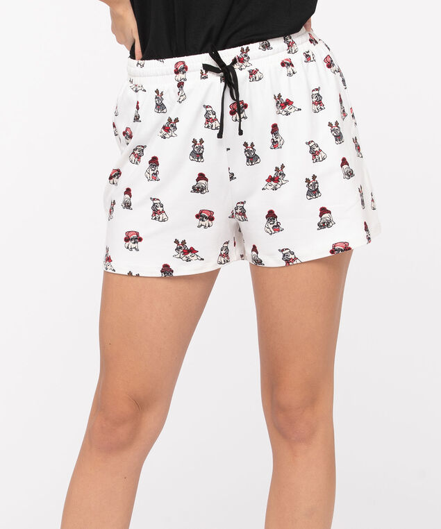 Drawstring Pajama Shorts, White/Black/Red, hi-res