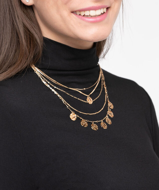 Multi Row Patterned Disc Necklace, Gold, hi-res