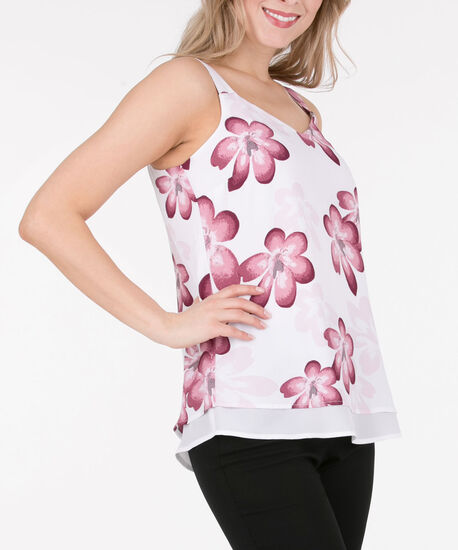 Sleeveless Double Layered Blouse, White/Black Cherry/Pink, hi-res