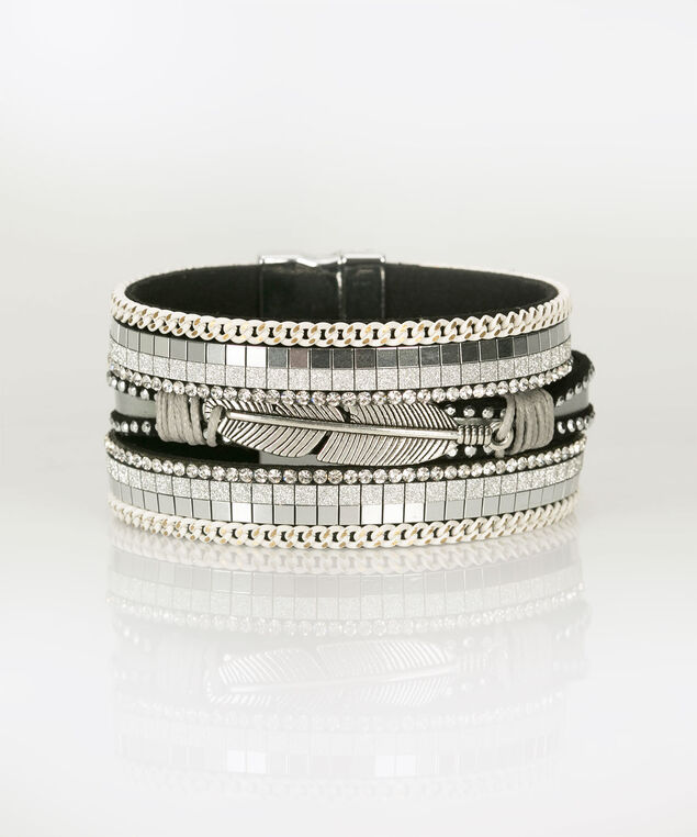 Feather Charm & Rhinestone Wrap Bracelet, Black, hi-res